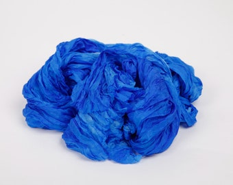 Blue silk scarf / brilliant blue ruffled silk scarf /  No iron scarf   /  Hand dyed / 100% habotai silk/ Shibori