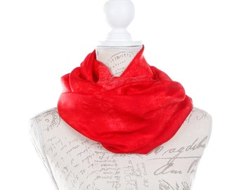 trendy circle scarf / Red silk infinity scarf for women / red silk circle scarf for women / Red loop silk scarf for women