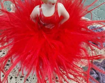 Powder Puff  Porcelain Doll with candy apple red OSTRICH FEATHER boa