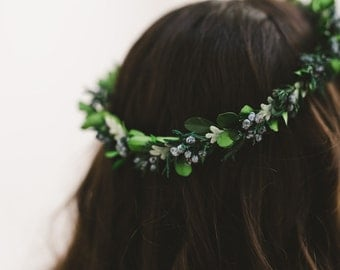 woodland crown, juniper crown, leaf crown, green bridal crown, natural crown, green hair wreath, floral crown, flower crown - BROOK