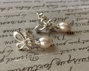 Silver Bow Pearl Earrings