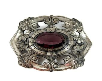 Impressive Victorian Amethyst Glass Brooch Silver Plate Heavy 3 inch