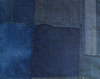 Unique Antique Japanese Indigo Boro Patched Textile - Large
