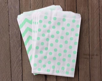 48 Mint Green Favor Bag--Polka Dot Favor Bag--Candy Favor Bag--Chevron Goodie Bag--Chevron Party Sack--Birthday Treat Sacks