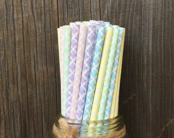 Pastel Paper Straws, Damask Straws, 125 Straws, Light Blue Straws, Baby Shower Straws, Birthday, Wedding Supply, Paper Straws, Free Shipping