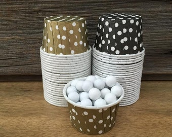 Gold and Black Paper Snack Cups - Set of 48 - Polka Dot Candy Cup - Party Supply - Mini Ice Cream Cup - Paper Nut Cup - Same Day Shipping