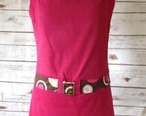 Pink Corduroy Apron, Modern Apron With Pleats, Deep Pink Tunic