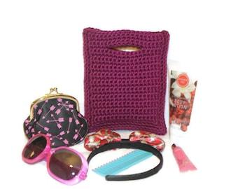 Dark Raspberry Pink Crochet Little Girl's Purse, Crochet Hand Bag, Crochet Clutch, Child's Fall Purse, Girl's Tote, Little Girl Gift