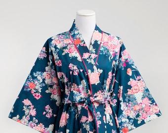 Kimono Robe. Womens Robe. Dressing Gown. XS - Plus size. Knee length. Yukata. Hospital Gown. Bathrobe. Floral Cotton SK Navy Blue Aqua Pink