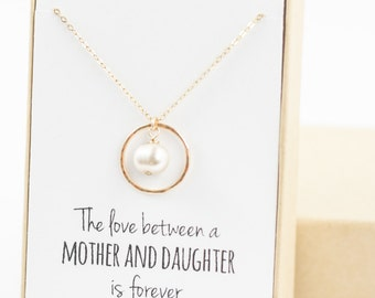 Mother of the Bride Gift (gold eternity necklace with pearl)