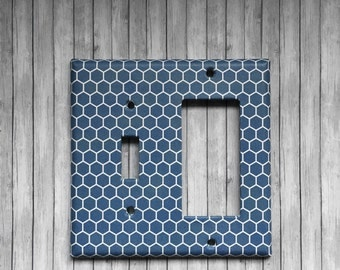 Sale - Light Switchplate - Blue & white honeycomb. Decorative combination switch plate cover. 1 toggle /1 Decora , Bathroom, Kitchen, decor
