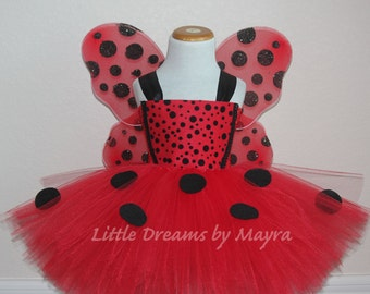 Ladybug tutu outfit with wings and matching headpiece, Ladybug birthday party costume size nb to 10years