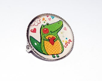 Cute Kitsch Crocodile Love Design 20mm Dinky Brooch