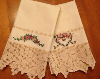 Two Beautiful Crocheted and French Ribbon Embroidered Guest Towels