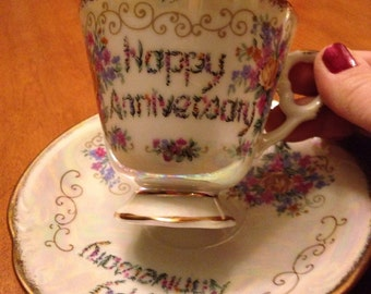 Pretty Happy Anniversary Porcelain Teacup and Saucer