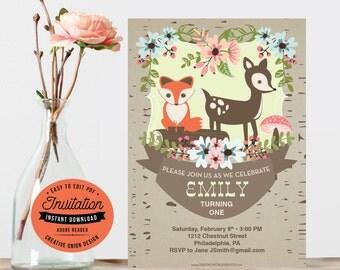 DIY File - Woodland Birthday Invitation - Instant Download - First Birthday Invite - Any Age Birthday Invite - Woodland - DIY Invite PDF