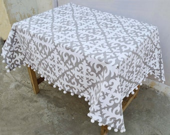 Grey Table Cloth, Moroccan Print, Gray And White, 100% Cotton, Bohemian