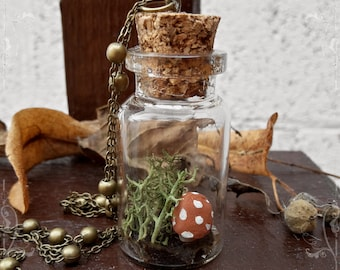 Mori Girl OOAK Faerytale Terrarium Jar Necklace ~ Small Brown Toadstool ~ Long Antique Brass Chain ~ Handmade by The Ivory Dolls