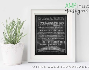 Priesthood Preview - Oath and Covenant of the Priesthood - Chalkboard - LDS - Instant Download - Printable - D&C 84: 33-39
