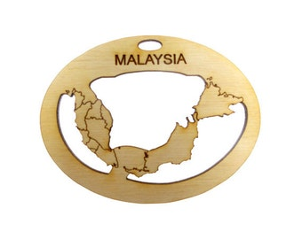 Malaysia Ornament - Malaysia Ornaments - Malaysia Art - Malaysia Decor - Malaysia Souvenir - Malaysia Map -Personalized Free