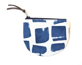 Small Boho Purse, Blue Wallet With Zipper Coin Purse, Boho Gift for Teen Girl, Change Organizer, Womens Card Wallet, Zipper Fabric Purse
