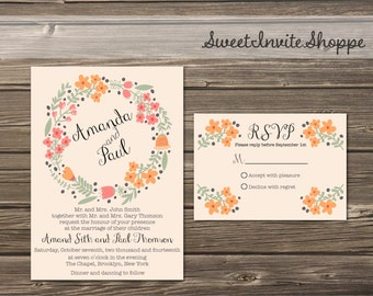 Rustic Floral Wedding Invitation, Pale Pink Vintage Flowers Printable Invitation Suite With RSVP Card, Floral Wreath Wedding Invitation
