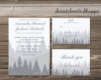 Winter Forest Wedding Invitation Set,  Rustic Mountain Invitation, RSVP, Thank You, Rustic Winter Pine Trees Invitation, Grey Winter Invite