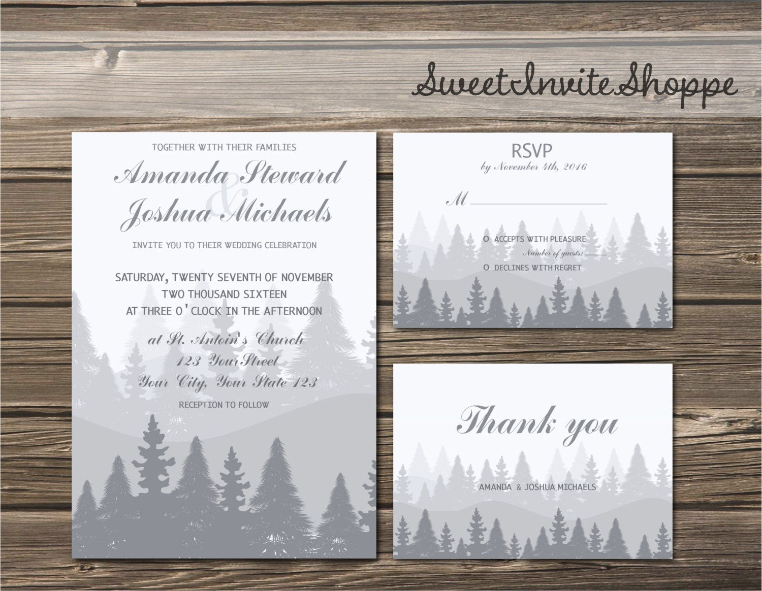 winter forest wedding invitations - 28 images - forest woodland ...