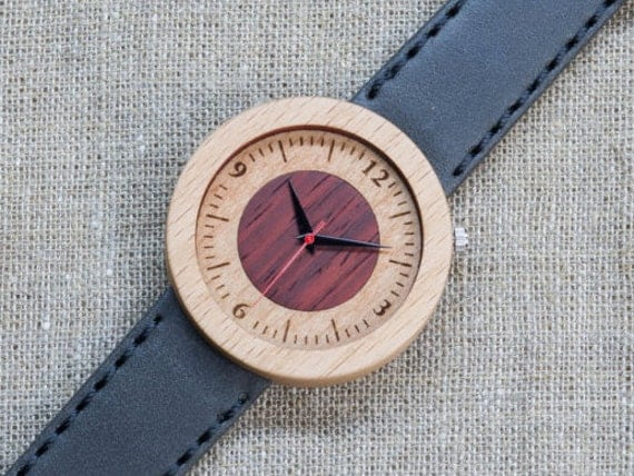 White red beech minimal wood watch , Majestic Watch,  Gray Genuine Leather strap + Any Engraving / Gift Box. Anniversary  gift
