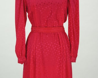 Reserved Vintage 1980s Hot Pink Argenti Silk Dress with Matching Belt Size 10 / M