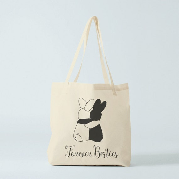 Besties Forever Tote bag, canvas bag, cotton bag, fabric bag, best friend gift, gift sister, novelty gift coworker, groceries bag.