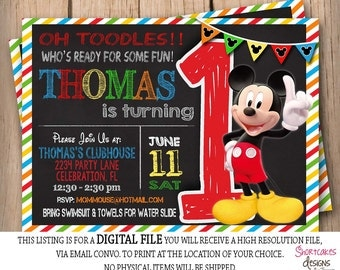 Mickey mouse 1st birthday invitation chalkboard first mickey mouse 1st birthday invitation chalkboard background first birthday printable red yellow filmwisefo Gallery