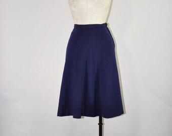 50s navy blue skirt / vintage blue wool skirt / 1950s knee length full skirt