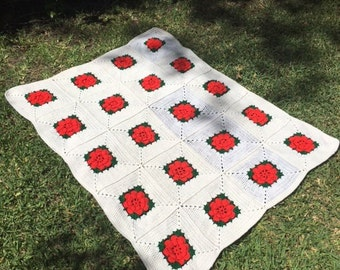 """Knit blanket,crochet,blanket, roses, knit,throw,baby blanket, red,white,rose,Afghan, 44"""" x 56"""", Free shipping in the US"""