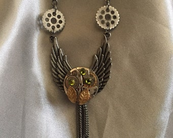 Steampunk, Steampunk Necklace, Jewelry, Fantasy, Vintage Watch Movement, Winged Necklace, Neo Victorian, Womens Necklace, Cosplay