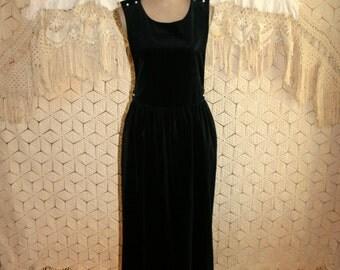 Black Velvet Jumper 80s Clothing Velvet Dress 1980s Winter Dress Holiday Clothing Size 8 Dress Size 10 Dress Medium Womens Vintage Clothing