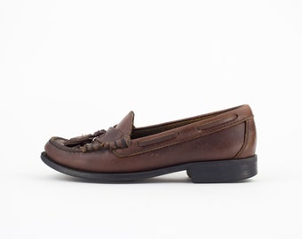 Vintage Sebago Loafers | 80s Brown Leather Boat Shoes | Size 7 UK 5 Euro 37 - 38