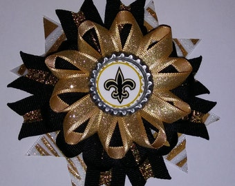 New Orleans Saints Hair Bow, Saints Hair Bow, Black and Gold Hair Bow, Fleur de Lis Hair Bow