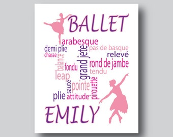 Personalized Ballet Gift, Personalized Dance Poster, Ballet Gifts, Ballet Graphic, Ballet Print, Ballet Poster, Dance Gifts For Girls