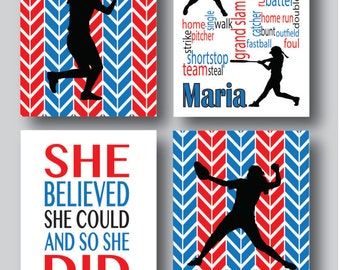 Set of 4, Poster Personalized Softball Gifts, Softball Decor, Softball Poster, Softball Coach Gift, Softball Girls, You Pick colors