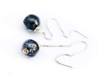 Galaxy - Galaxy Earrings  - Sterling Silver Earrings  - Lampwork Earrings - Glass Earrings - Silver Earrings - Black Earrings