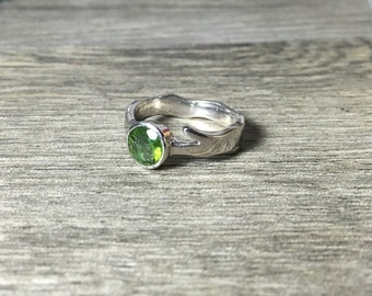 Green Tourmaline Gemstone Ring, unique branch style,polished, Ready to Ship, size 6