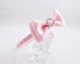 Pink Headband, Pink Rhinestone Bow, Pink Satin Headband, Pink Flower Girl Headband, Rhinestone Headband, Girls Headband, Easter Bow