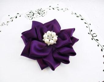 Plum Flower Hair Clip, Purple Flower Clip, Plum Wedding Flower, White Pearl Rhinestone Center, Plum Flower Girl Bow, Bridesmaid Hair Clip