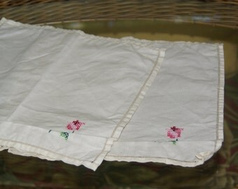 Vintage Linen Handkerchiefs/Napkins Pink Floral Cross Stitch Set of Two
