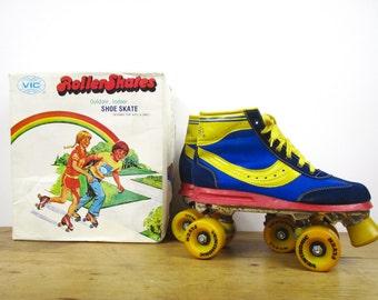 Vintage 70s 80s Retro Roller Skates in Original Box - Blue and Yellow Roller Rink Shoe Skates - Roller Derby - EU 40 / US 9 / UK 6 7