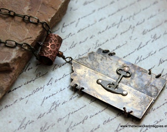 Romantic Etched Brass Necklace Locket Victorian Edwardian Downton Abbey Filigree Steampunk Industrial Door Gear Key Lock