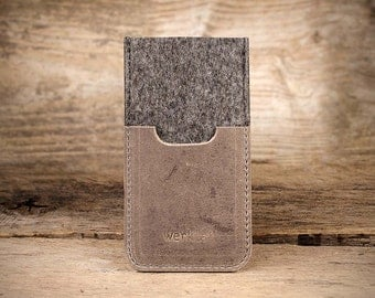 "iPhone SE, felt leather sleeve, case ""Smartwerk"", tailor-made smartphone case for your iPhone by werktat"