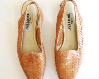 Woven Leather Sandals - Slingback Leather Shoes - Size 8/ 8.5