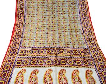 Vintage Pure Silk Fabric Beige Sari Sarong Drape Floral Printed Fabric Dress Recycled Sari Women Wrap Indian Sari 5Yard PS35372